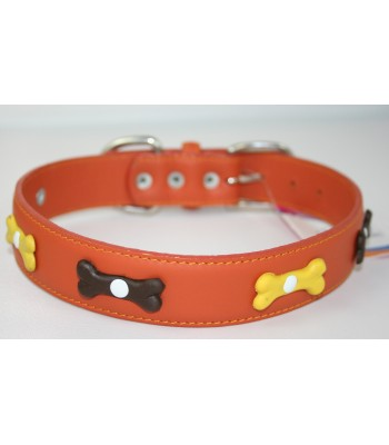 "Bone Charms in Orange Leather Large Collar 1 1/4""x22"""