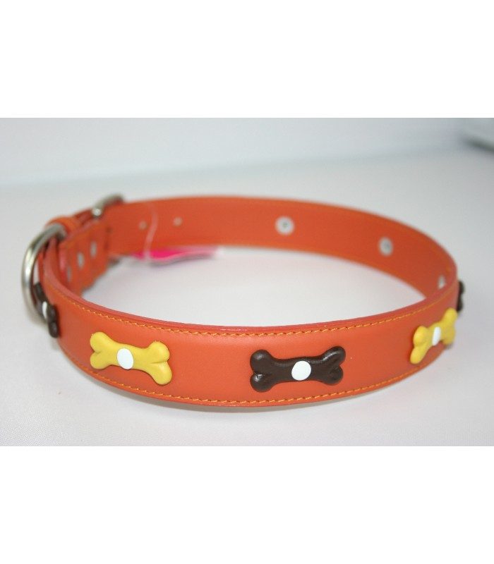 "Bone Charms in Orange Leather Extra-Large Collar 1 1/4""x26"""