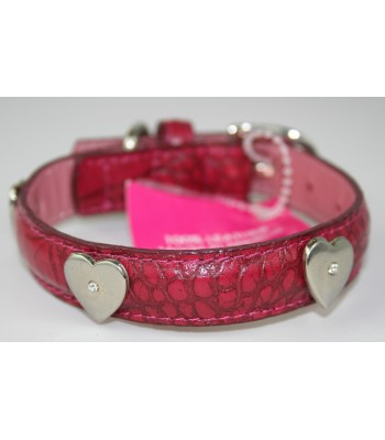 "Heart Charms in Dark Pink Leather Small Collar 3/4""x14"""