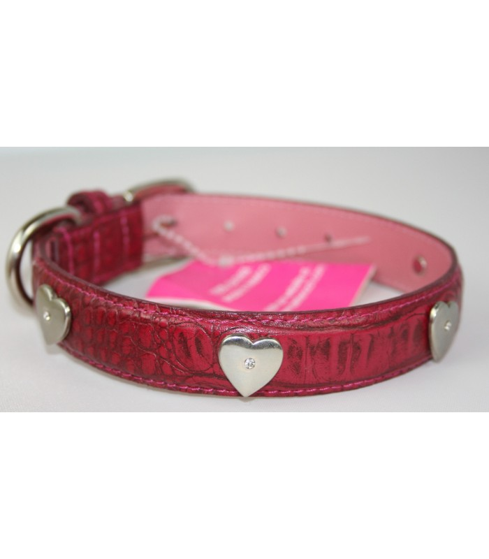 "Heart Charms in Dark Pink Leather Medium Collar 1""x18"""