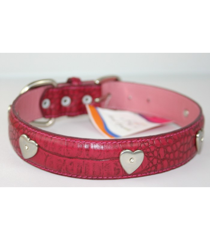 "Heart Charms in Dark Pink Leather Large Collar 1 1/4""x22"""
