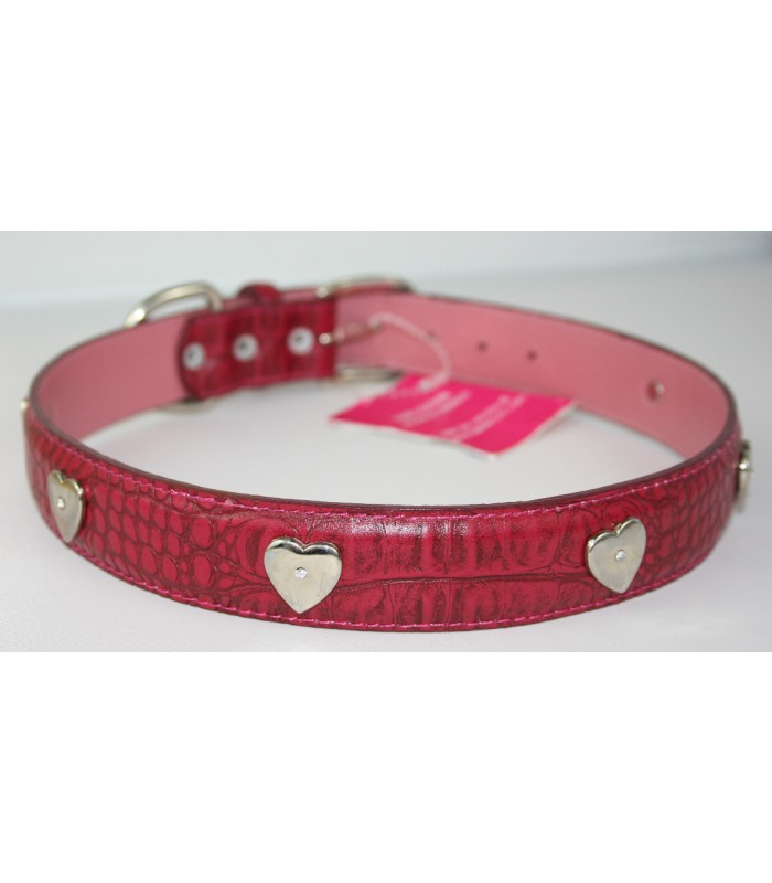 "Heart Charms in Dark Pink Leather Extra-Large Collar 1 1/4""x26"""