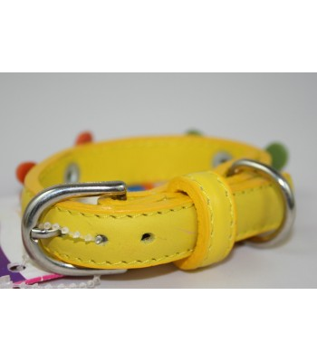 "Bone Charms in Yellow Leather Extra-Small Collar 1/2""x10"""