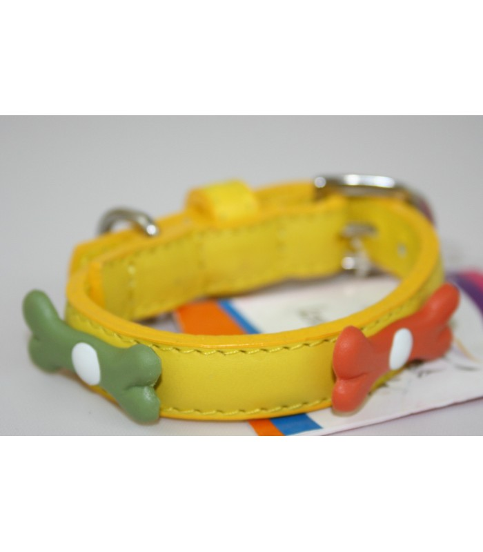 """Bone Charms in Yellow Leather Extra-Small Collar 1/2""""x10"""""""