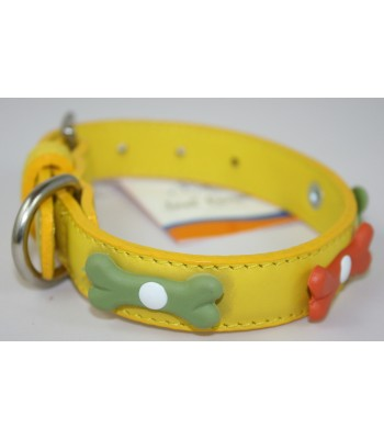 "Bone Charms in Yellow Leather Small Collar 3/4""x14"""