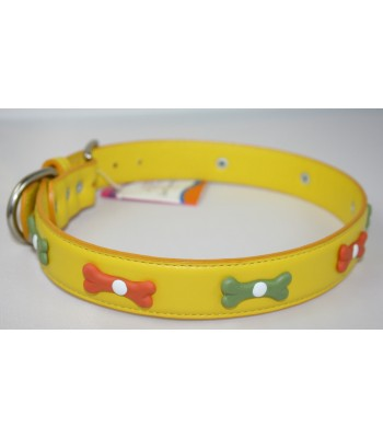 "Bone Charms in Yellow Leather Extra-Large Collar 1 1/4""x26"""