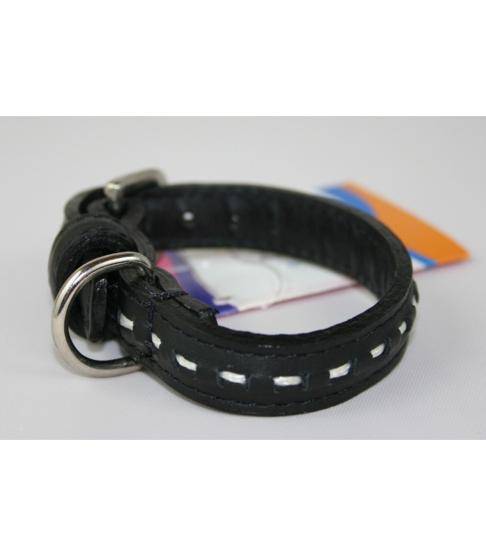 "Hand Stitched Black Leather Extra-Small Collar 1/2""x10"""