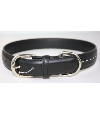 "Hand Stitched Black Leather Medium Collar 1""x18"""