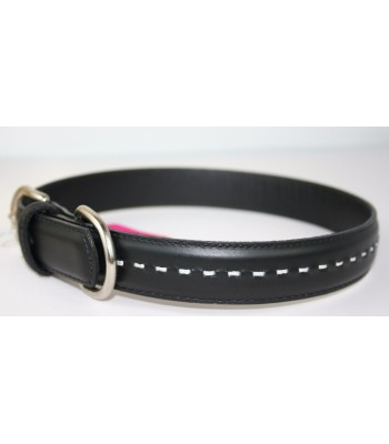 "Hand Stitched Black Leather Extra-Large Collar 1 1/4""x26"""