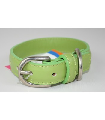 "Hand Stitched Green Leather Extra-Small Collar 1/2""x10"""