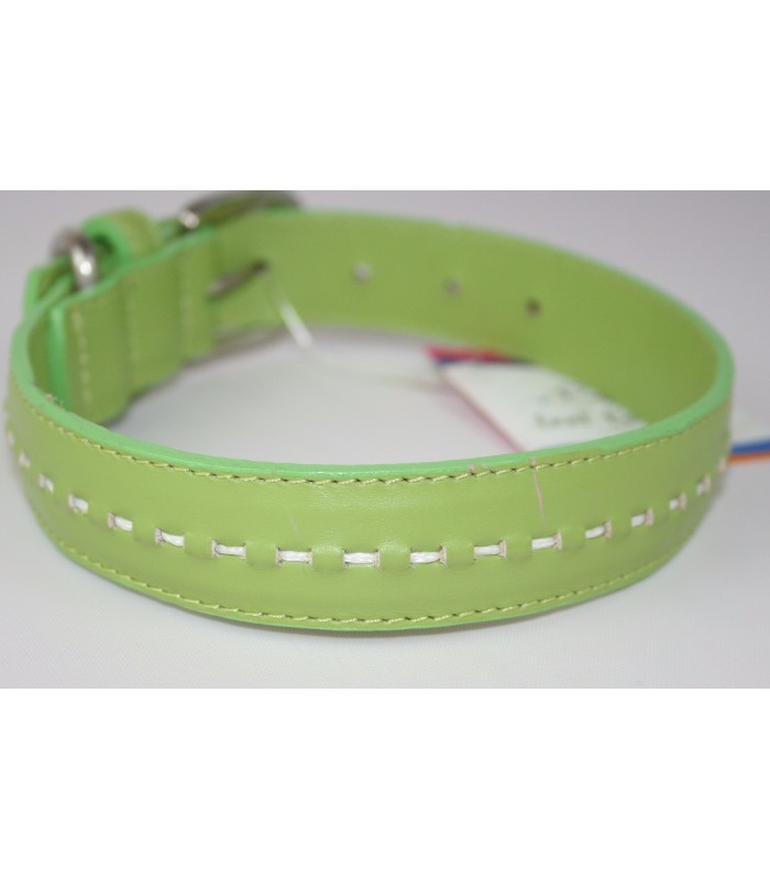 "Hand Stitched Green Leather Small Collar 3/4""x14"""