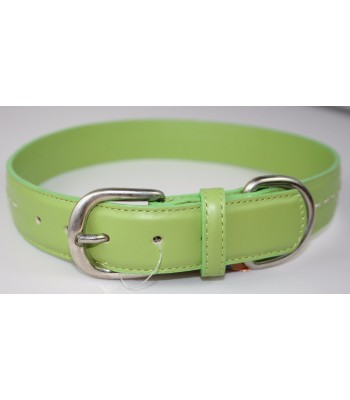 "Hand Stitched Green Leather Extra-Large Collar 1 1/4""x26"""