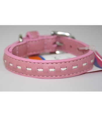 "Hand Stitched Pink Leather Extra-Small Collar 1/2""x10"""
