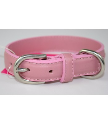 "Hand Stitched Pink Leather Small Collar 3/4""x14"""