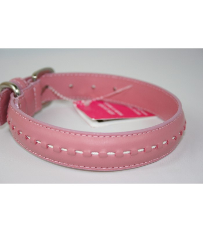 "Hand Stitched Pink Leather Medium Collar 1""x18"""