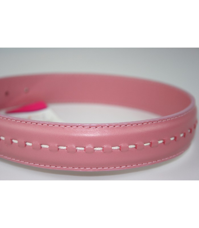 "Hand Stitched Pink Leather Large Collar 1 1/4""x22"""