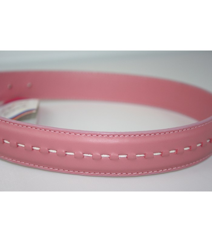 "Hand Stitched Pink Leather Extra-Large Collar 1 1/4""x26"""
