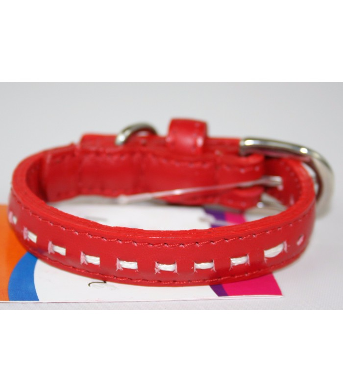 "Hand Stitched Red Leather Extra-Small Collar 1/2""x10"""