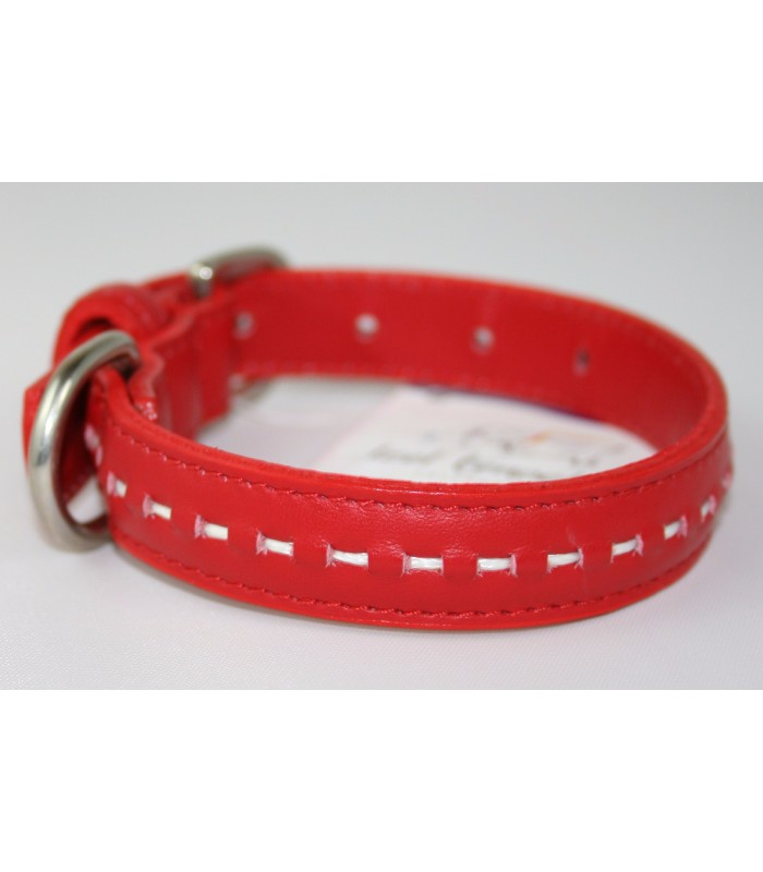 "Hand Stitched Red Leather Small Collar 3/4""x14"""