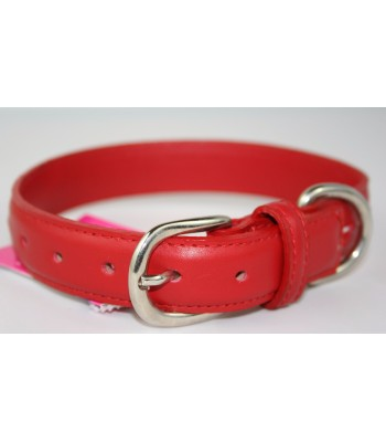 "Hand Stitched Red Leather Medium Collar 1""x18"""