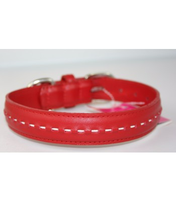 "Hand Stitched Red Leather Extra-Large Collar 1 1/4""x26"""