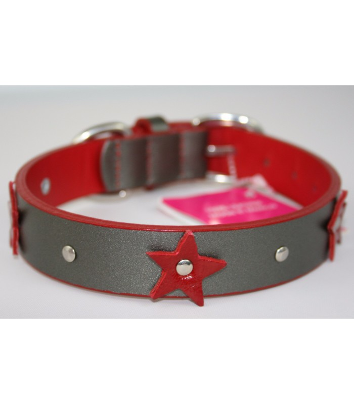 "Red Stars in Silver Leather Medium Collar 1""x18"""