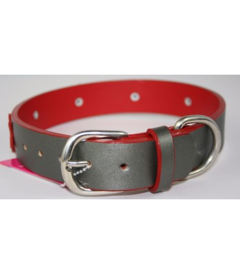 "Red Stars in Silver Leather Large Collar 1 1/4""x22"""