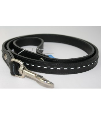 "Hand Stitched Black Leather Large Leash 1""x4'"