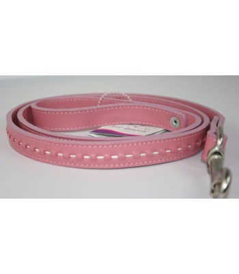 "Hand Stitched Pink Leather Large Leash 1""x4'"