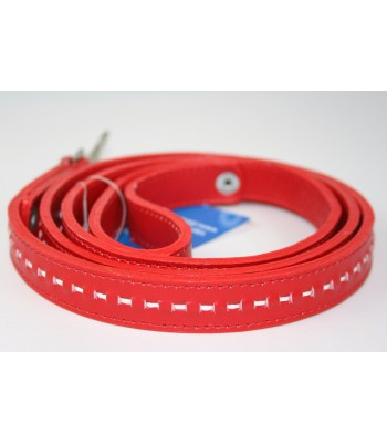 "Hand Stitched Red Leather Small Leash 3/4""x4'"