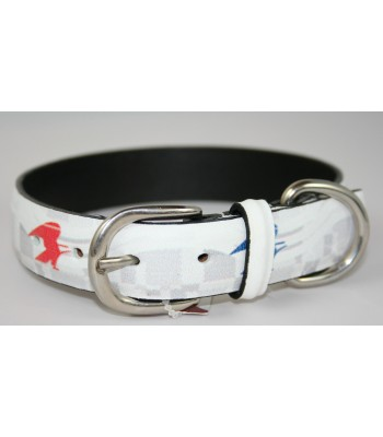 "USPS Eagles White Leather Medium Collar 1""x18"""