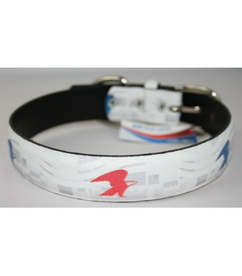 "USPS Eagles White Leather Large Collar 1 1/4""x22"""
