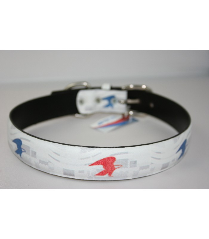 "USPS Eagles White Leather Extra-Large Collar 1 1/4""x26"""