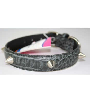 "Spikes in Croc Embossed Black Leather Small Collar 3/4""x14"""