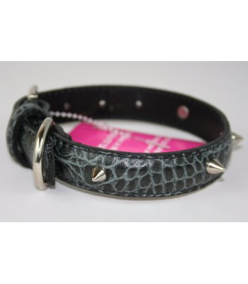 "Spikes in Croc Embossed Black Leather Medium Collar 1""x18"""