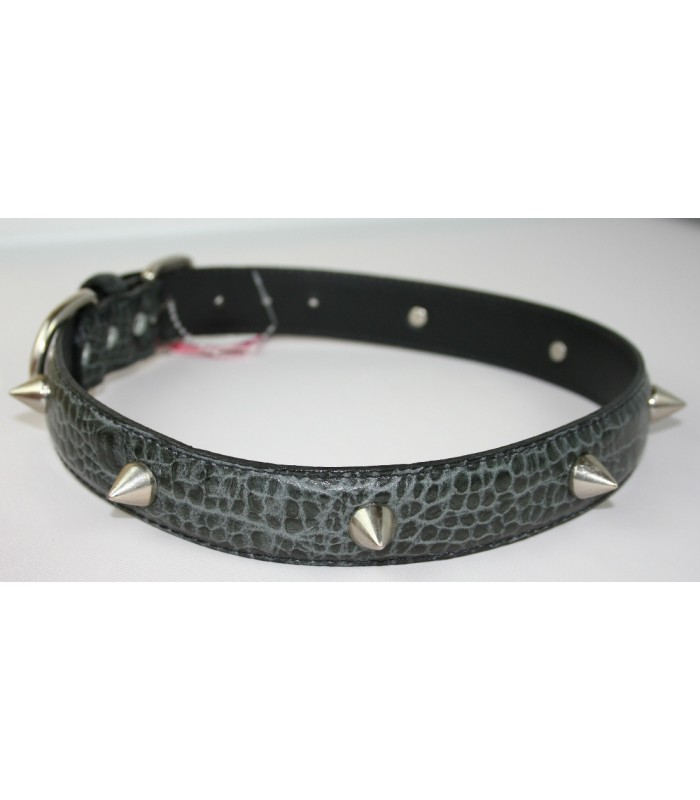 "Spikes in Croc Embossed Black Leather Extra-Large Collar 1 1/4""x26"""