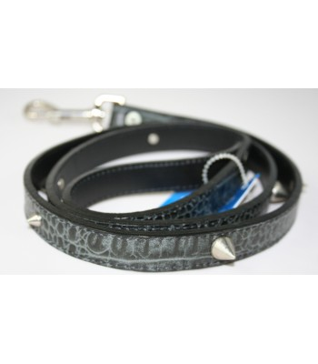 "Spikes in Croc Embossed Black Leather Large Leash 1""x4'"