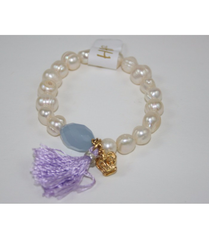 Freshwater Cultivated Pearl Bracelet with 22K Gold Plated Crown Charm, Lilac Stone and Tassel