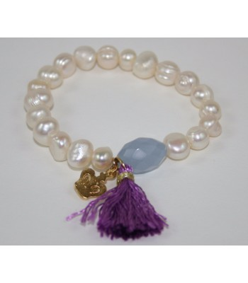 Freshwater Cultivated Pearl Bracelet with 22K Gold Plated Crown Charm, Lilac Stone and Purple Tassel
