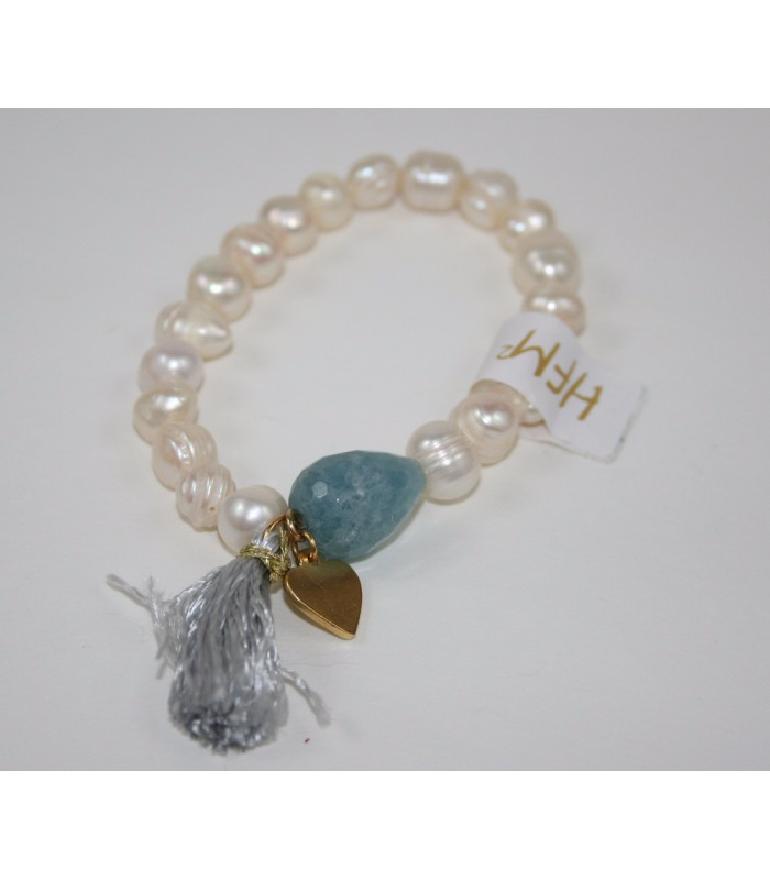 Freshwater Cultivated Pearl Bracelet with 22K Gold Plated Heart Charm, Aqua Stone and Silver Tassel