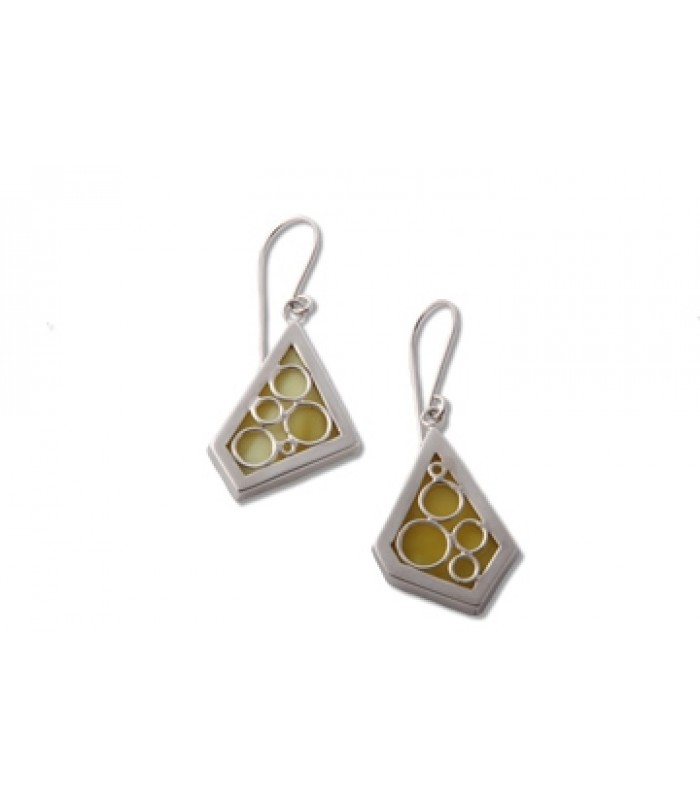 Oxygen Yellow Stained Glass and Sterling Silver Earrings