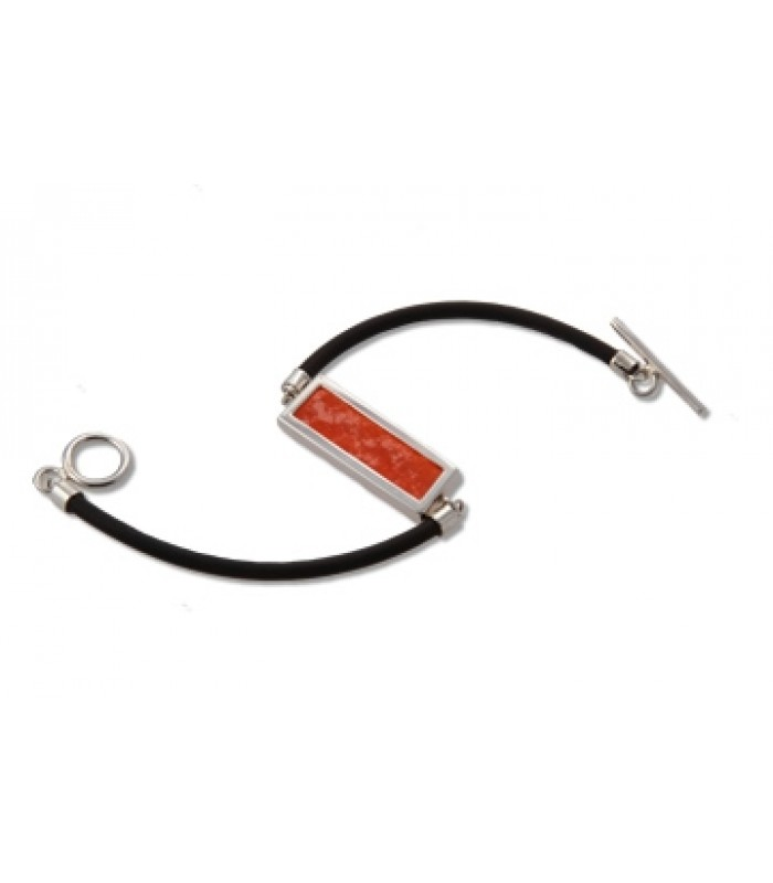 Rectangular Orange Stained Glass and Sterling Silver Bracelet