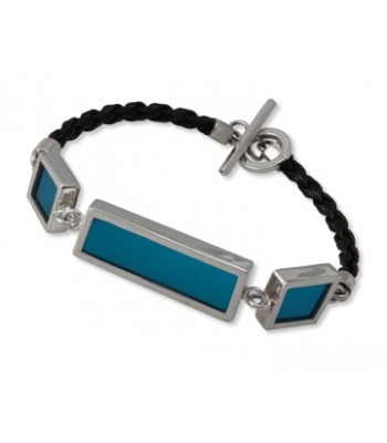Two Squares and One Rectangle Blue Stained Glass and Sterling Silver Bracelet