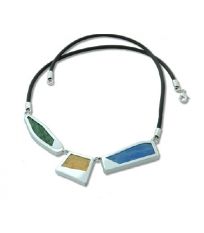 Spring Aqua Multi-Colored Stained Glass and Sterling Silver Necklace