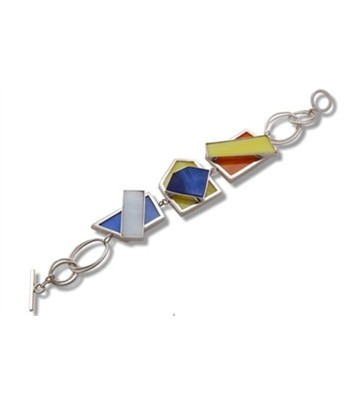 Two Tier Stained Glass and Sterling Silver Bracelet