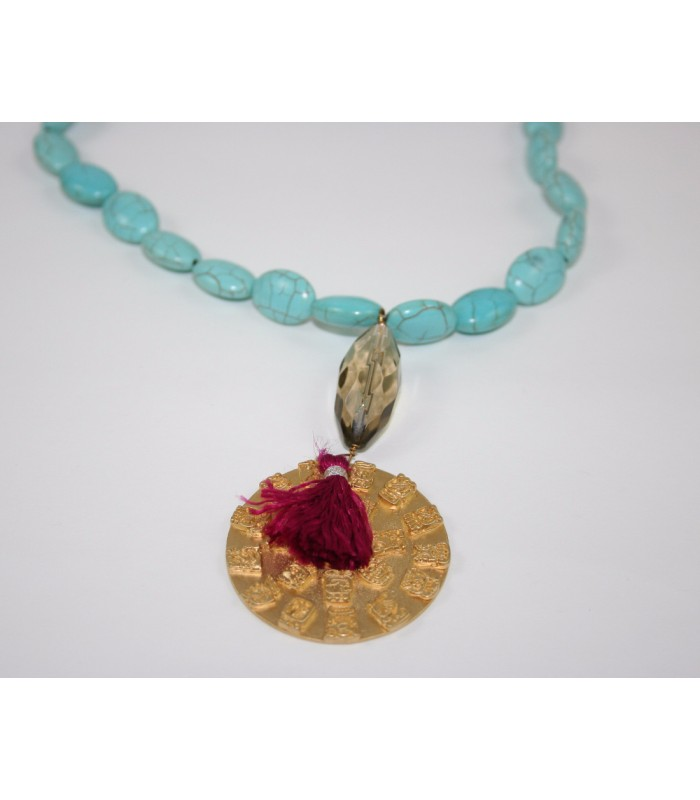 Turquoise Necklace with Smokey Stone and 22K Gold Plated Mayan Calendar