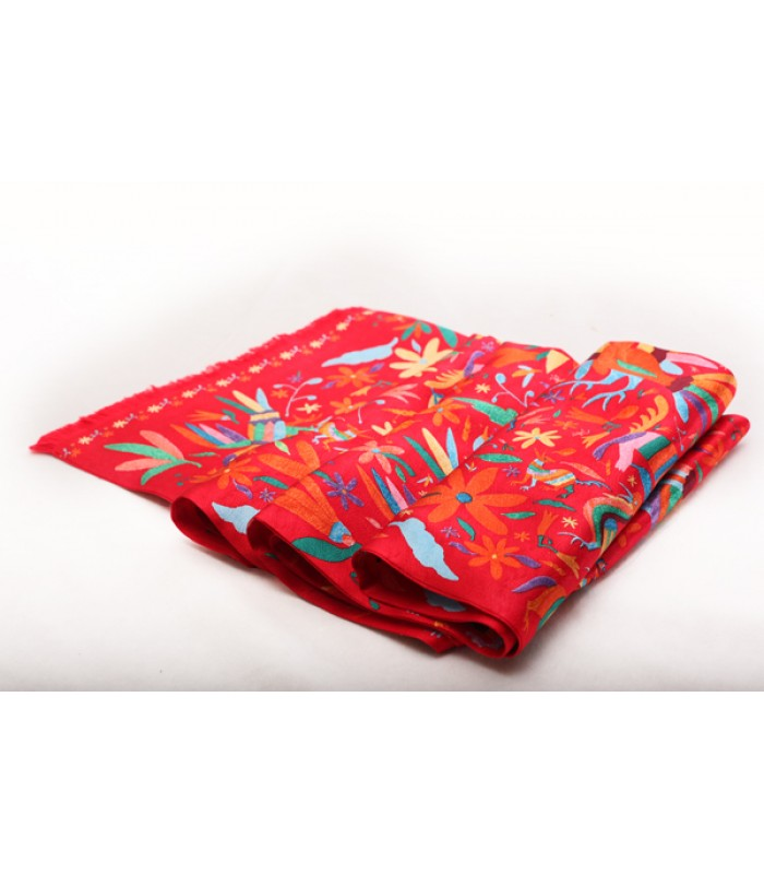 Embroideries from Hidalgo Pineda Covalin Rectangular Silk Scarf in Red