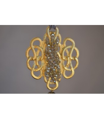 22K Gold-Plated Medallion Hand-woven with Smoky Czech Crystals