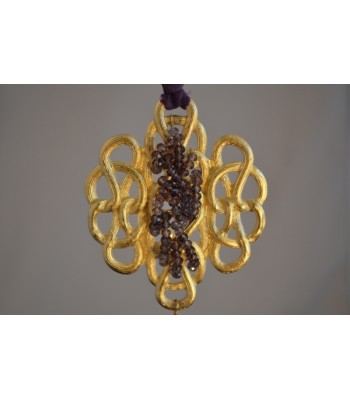 22K Gold-Plated Medallion Hand-woven with Purple Czech Crystals