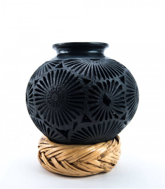 "Oaxaca Black Clay Pierced Pot 7""x7"""
